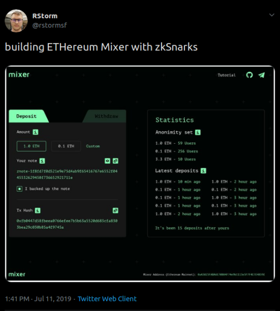 Screenshot_2019-08-06 RStorm on Twitter building ETHereum Mixer with zkSnarks https t co lzKF1rbxA8 Twitter