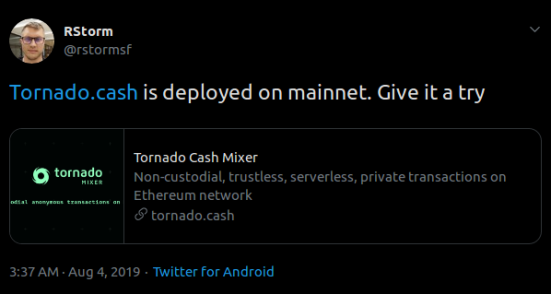Screenshot_2019-08-06 RStorm on Twitter https t co mfFVstLFEQ is deployed on mainnet Give it a try Twitter(1)
